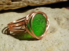 Shamrock Seaglass Ring Sea Glass Jewelry Wire by MoreThanSeaGlass