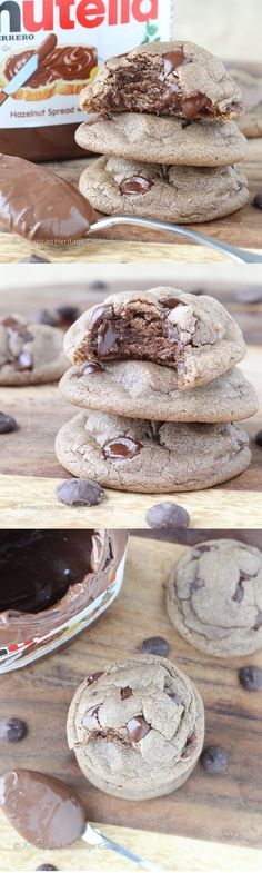 These chewy gooey soft Nutella Chocolate Chip Cookies are the perfect comfort food cookies and super easy to make! These chewy gooey soft Nutella Chocolate Chip Cookies are the perfect comfort food cookies and super easy to make! Baking Recipes, Cookie Recipes, Dessert Recipes, Cookie Ideas, Baking Ideas, Just Desserts, Delicious Desserts, Yummy Food, Think Food