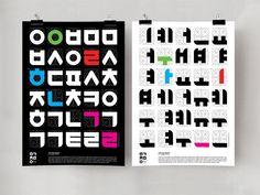 Designer: Ms. Sookwung Lee Design Type: Typography, Posters. Organization: Ewha Womans University.  These interactive posters are designed for gathering people's attention and interest towards Hangul characters. People can figure out some meaningful word by matching the same colored consonant and vowel from each poster.