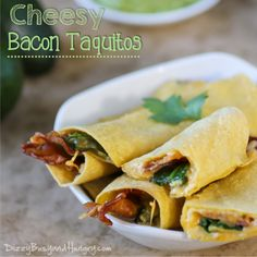 Cheesy Bacon Taquitos - Bacon and cheese wrapped in a yummy corn tortilla and baked until crispy and delicious!