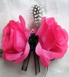 Wedding bouquet Bridal Silk flowers Hot Pink FUCHSIA BLACK feathers Bridesmaids boutonnieres Corsages 17 pc package. $200.00, via Etsy.