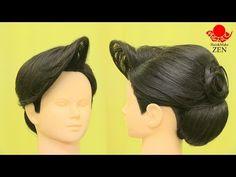 和装ヘアセット2 和髪の前髪立ち上げ後ろ2段 ZENのHow to ヘアセット56 Japanese classic updo2 - YouTube