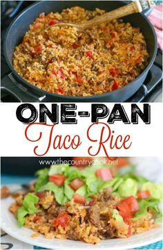 One-Pan Taco Rice Dinner recipe from The Country Cook. This recipe was life-changing! Seriously so, SO good! It's my new favorite way to make rice. The salsa added makes all the difference!