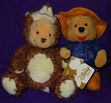 Disney Exclusive Winnie The Pooh x 2 Plush Toys *Pooh as hedgehog*Raincoat Pooh*