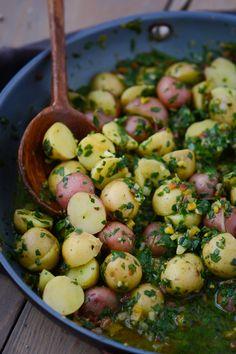Potatoes in garlicky chard broth