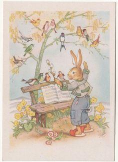Ak Osterhase musiziert mit Vögeln Charlotte Baron RAA um 1950 ! (A643 in Sammeln & Seltenes, Ansichtskarten, Motive | eBay
