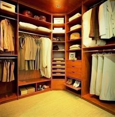 great use of corner space in this master bedroom closet