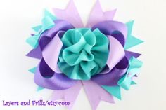 4.5 inch bow Blue and purple over the top hair by LayersandFrills, $9.99