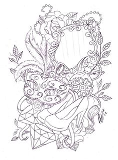 Leg mask and mirror tattoo sketch by Nevermore-Ink on @DeviantArt