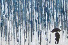 Melted Crayon Art Man & Woman with umbrella