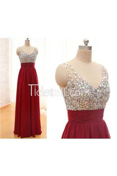 Hot Sale A-line V Neck Straps Chiffon Long Prom Dress With Beaded