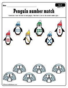 Free number matching worksheets with number words, fine motor tracing sheets, number matching worksheets. Free Printable Worksheets, Preschool Worksheets, Kindergarten Activities, Matching Worksheets, Vocabulary Activities, Winter Thema, Polar Animals, Numbers Preschool, Number Matching