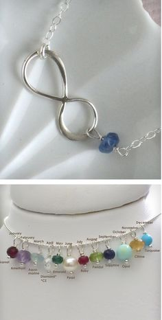Infinity Knot Birthstone- would love this as a bracelet with the stone color to represent either the month we stated dating or the month he proposed.