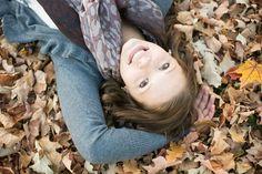 senior in leaves, christy janeczko photography