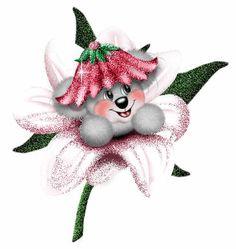 Bear In Sparkling Flower Image