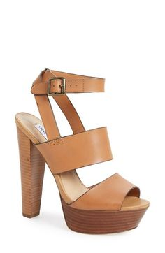 Steve Madden 'Dezzzy' Leather Ankle Strap Sandal (Women) at Nordstrom.com. A soaring stacked heel and super-chunky platform add standout height to a smooth leather sandal styled with a wraparound ankle strap.
