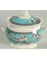 8 pc 222 FIFTH ADELAIDE Turquoise Grey Dinnerware Plates Bowls Toile ...