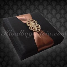 Hinged Lid Wedding Invitation Box, Black & Golden Brooch