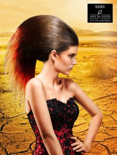 Haat Wave Haute Couture looks inspired from the extreme act of nature in many parts of the world. Heat Wave happens in a long period of extremely hot weather as a stretch of summer heat. Haute Couture hair is straightened with Makarizo Rebonding System and colored partially.