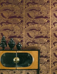 In blue and gold: Osbourne and Little Vintage/Chinese Dragon wallpaper.  Circa 1968.