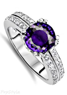 Genuine Amethyst Engagement Ring
