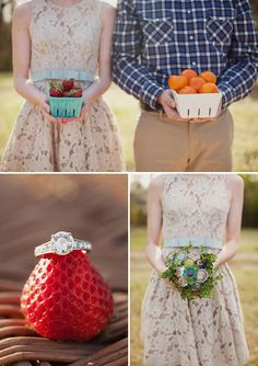 these engagement pictures are awesome. the bouquet has antique door knobs in it