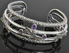 New Greg Anthony Bali Sterling Silver 18K Gold Amethyst Dragonfly Cuff Bracelet #GregAnthony #Cuff