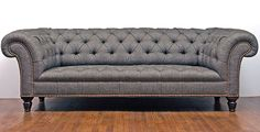 George Smith Early Victorian Chesterfield in grey wool