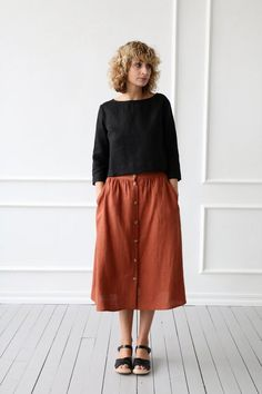 Item: Handmade and made to order Color: Black Style: Casual Neckline: Boat Pattern: Solid Sleeve length: sleeve Material: Linen Linen Skirt, Ruffle Skirt, Midi Skirt, Skirt Outfits, Clogs, What To Wear, Street Style, Style Inspiration, Stylish