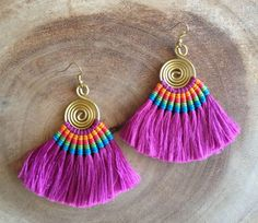 Fuschia Tassel Fan Earrings Festival Tassel Earrings Tassle Earings BOHO Chic Earrings Gypsy Tassle Jewelry Trending Now Wholesale Jewelry jewelry trends Tassel Earing, Tassel Jewelry, Fabric Jewelry, Diy Earrings, Earrings Handmade, Handmade Jewelry, Hoop Earrings, Macrame Earrings, Tribal Earrings