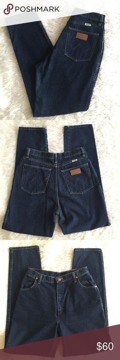 """Vintage High Waisted Wrangler Blue Jeans High Waisted Wrangler Blue Jeans. Be still my heart, these are breathtakingly clean with super minimal wear. Really happy to find vintage highwaisted jeans in normal lady sizes! These are 13/14 x 34. True vintage beauts! Waist: 31-32"""" Hips: 40-40.5"""" Inseam: 33.5"""" Front Rise: 13"""" Rear Rise: 17 glorious inches!!! Wrangler Jeans Straight Leg"""