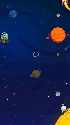 Space Aliens Planets Cartoon #iPhone #8 #wallpaper