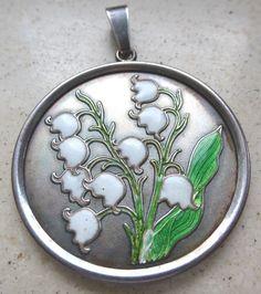 Silber 925 Maiglöckchen JUGENDSTIL Anhänger: EMAIL Medaillon, Art Nouveau silver