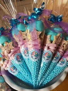 Ariel themed sweet cones for under the sea mermaid parties.