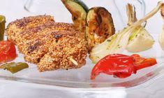 Receta de Brochetas de pollo y sésamo con verduras al horno