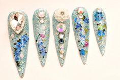 Stiletto nails super long nails bling summer nail art by Aya1gou