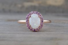 14k Rose Gold Oval Fire Opal And Pink Sapphire Halo Engagement Love Anniversary Ring Art Deco Vintage Love Promise