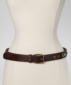 Love this Brown & Turquoise Studded Leather Belt by I Love Accessories on #zulily! #zulilyfinds
