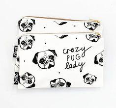 Crazy Pug Lady Pouch Dog Lady Gift  ZanaProducts на Etsy