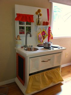 Nightstand play kitchen-Very Cute Idea- a little different than some play kitchens I have seen