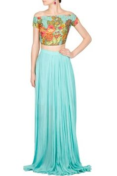 Floral Embroidered Teal Blue Crop Top Set   #carma #carmaonlineshop #style #fashion #designer #indianfashion #indiandesigner #ankitajuneja #gown #couture #shopnow #indianwear #pretty #girly #onlineshopping #instashop #floral #embroidered #croptop #fusion