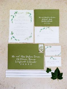 Green and White Wedding Invitation Suite | photography by http://www.michelehartphotography.com