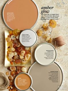 Paint Colors Capture a seasonal glow with these warming shades of amber-grays. Get an iPad subscription and try out different wall colors. Interior Paint Colors, Paint Colors For Home, Fall Paint Colors, Orange Paint Colors, Interior Painting, Gray Interior, Interior Design, Garden Painting, House Painting