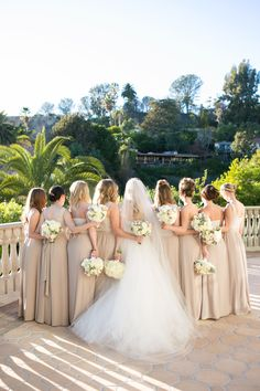To complement the bride's all white bouquets, the bridesmaids carried bouquets of white & ivory flowers with touches of greenery that popped against their champagne dresses. | Bob Gail Events White Bouquets, Wedding Bouquets, Wedding Dresses, Bridesmaids, Bridesmaid Dresses, Different Types Of Flowers, Champagne Dress, Ivory Wedding, Groom And Groomsmen