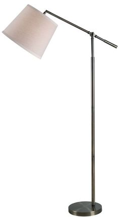 Kenroy Home Lighting Tilt Dark Antique Brass Floor Lamp with Drum Shade at Destination Lighting Antique Brass Floor Lamp, Brass Lamp, Swing Arm Floor Lamp, Led Floor Lamp, Fabric Shades, Drum Shade, Home Lighting, Task Lighting, One Light