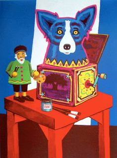 Writing about the life and art of George Rodrigue. Blue Dog Art, Blue Art, Blue Dog Painting, Dog Paintings, Silk Screen Printing, Love Blue, Pink Flamingos, Painted Rocks, Dog Cat