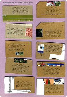 Cool urban way to make your own business cards. Just stamp your info onto recycled paper cards.
