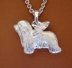 Large Sterling Silver Bearded Collie Angel Pendant von BestK9buds