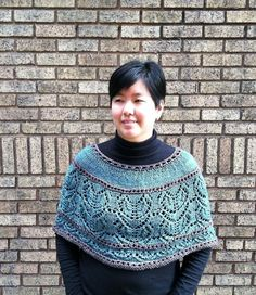 Pure elegance! Wrap yourself in a lovely, lacy capelet knitted in the round with a heart-shaped leaf stitch and contrasting eyelet ridges - find the pattern on LoveKnitting!