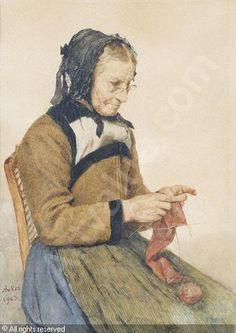 """Grandmother Knitting"", also known as ""Strickende Grossmutter"" (1903), by Swiss artist - Albert Anker (1831-1910), Medium unknown, Dimensions unknown, Location unknown."